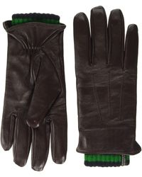 Scotch & Soda Double-layered Leather And Knitted Gloves, - Brown