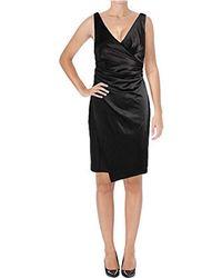 Vera Wang Sleeveless V Neck Cocktail Dress - Black