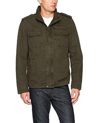 Levi's - Washed Cotton Two Pocket Sherpa Lined Military Jacket, Olive, Large - Lyst
