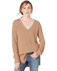 Goodthreads Cotton Half-Cardigan Stitch Deep V-Neck Sweater - Neutre