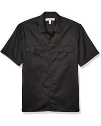 Amazon Essentials Short-Sleeve Stain and Wrinkle-Resistant Work Shirt Button-Down-Shirts - Negro