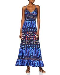 Desigual Dress Straps Greta Woman Blue Vestido para Mujer - Azul