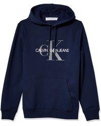 Calvin Klein Fleece Hoodie Logo Pop Over Sweatshirt Shirt - Blue