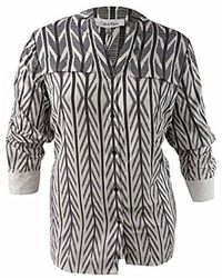 Calvin Klein - Plus Size Printed Crew Neck Roll Sleeve Blouse - Lyst