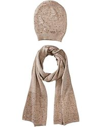 La Fiorentina Matching Embellished Scarf And Hat Set - Natural