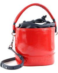 Tommy Hilfiger Tjw Femme Bucket Bag Crinkle Deep Crimson - Red