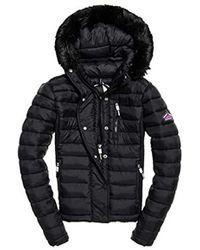 Superdry Fuji Slim Double Ziphood Coat - Black