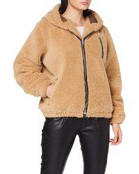 True Religion Teddy Hooded Bomber Fleece Jacket - Natural