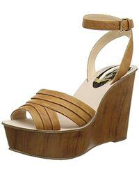 247ca0ce31c Nine West Fichel Strappy Wedge Sandals in Brown - Lyst