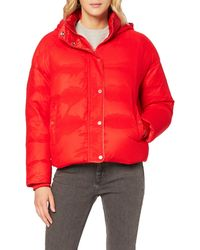 Calvin Klein Jeans Ocoon MW Down Puffer, Giacca Impermeabile Donna, Rosso (Flame Scarlet), Small