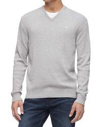 Calvin Klein Cotton Modal V-neck Sweater - Gray