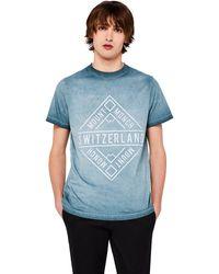 FIND T-Shirt Délavé Switzerland - Bleu