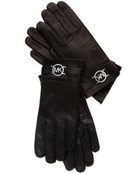 Michael Kors Michael Leather Gloves With Mk Circle Logo And Touch Tips L - Black