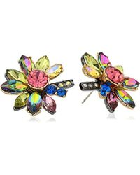 Betsey Johnson - Surreal Forest Bright Multi-stone Flower Stud Earrings - Lyst