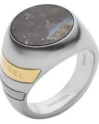 DIESEL Sigel Edelstahl mit Rund Labradorit Ringgröße 59 DX1190040-9 - Mettallic