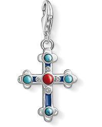 Thomas Sabo Pendentif Charm Croix Ethnique Argent Sterling 925, émaillé Bleu 1466-335-7 - Métallisé