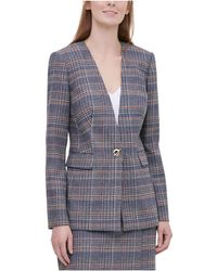 Calvin Klein - S Brown Plaid Suit Wear To Work Jacket Petites - Lyst