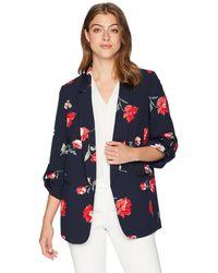 Nine West Floral-print Open-front Jacket - Blue