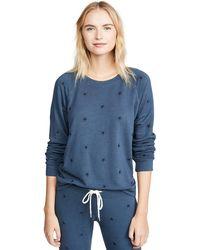 Monrow Allover Star Raglan Sweatshirt - Blue