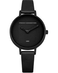 French Connection S Analogue Classic Quartz Watch With Leather Strap Fc1319b - Black