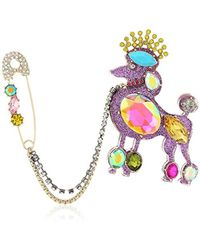 Betsey Johnson S Multi Poodle Pin - Multicolor