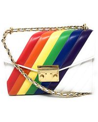 Michael Kors Rose Medium Leather Shoulder Flap Bag Rainbow - Mehrfarbig
