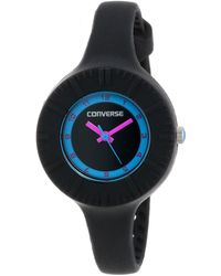 Converse Vr023001 The Skinny Round Black Analog Dial With Black Silcone Case And Strap Watch