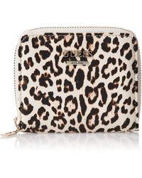 Guess Lorenna SLG Small Zip Around Leopard - Multicolore