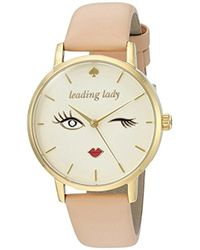 Kate Spade - Vachetta Leather And Goldtone Metro Watch - Lyst