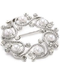 Napier - Gift Boxed Silver-tone With Pearl Wreath Brooch - Lyst