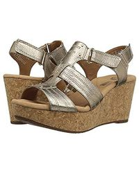 Clarks S Annadel Fabric Open Toe Casual Platform Sandals, Gold, Size 10.0 - Metallic