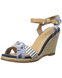 bae657627 Lyst - Sperry Top-Sider Valencia Canvas Espadrille Wedge Sandals in Blue