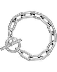 Michael Kors Mkj4864 040 Cityscape Silver Tone Chain Link Pave Toggle Bracelet - Metallic