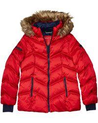 Nautica Short Puffer Coat With Faux Fur Trim Hood - Red