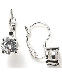 "Nine West - ""classics"" Silver-tone Cubic Zirconia Euro Wire Drop Earrings - Lyst"