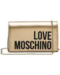 Love Moschino Borsa Metallic Nappa Pu Clutch, 13x22x6 Centimeters - Mettallic