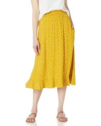 Goodthreads Easy Pull-on Fluid Twill Midi Skirt - Yellow