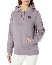 Carhartt Regular Clarksburg Sleeve Logo Hooded Sweatshirt - Gray