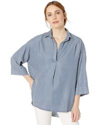 French Connection Rhodes Poplin Light Weight Long Sleeve Oversized Shirt - Blue