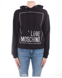 Love Moschino Logo Box Print_Long Sleeve Hooded Sweatshirt Felpa, - Nero