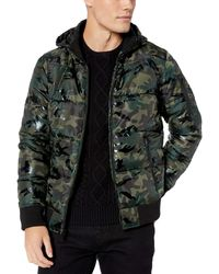 Guess Print Hooded Puffer - Multicolour