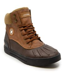 Nautica S Padden Waterproof Snow, Lace-Up Insulated Duck Boot-Brown/Tan-13 - Marron