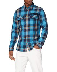 Tommy Hilfiger TJM Velcro Check Shirt Freizeithemd - Blau