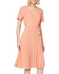 Dorothy Perkins Coral Wrap Pleated Midi Dress - Pink