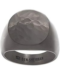Ben Sherman London Logo Signet Ring for in Black IP Plated Stainless Steel (Various Sizes) - Multicolore