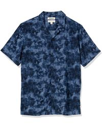 Goodthreads Camisa Hawaiana de ga Corta con Cuello de Campamento Button-Down-Shirts - Azul