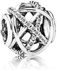 PANDORA Moments Funkelnde Linien Offen gearbeiteter Charm Sterling Silber, Cubic Zirkonia 791388CZ - Mettallic