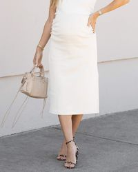 The Drop Whisper White Fitted Midi Skirt By @sivanayla