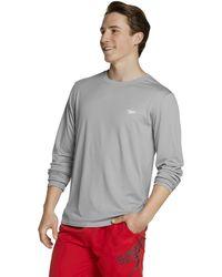 Speedo Long Sleeve Easy Rash Guard Swim Shirt With Uv And Upf 50+ Protection - Grey