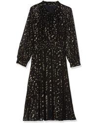Dorothy Perkins Gold Foil Pussybow Chiffon Midi Dress - Black